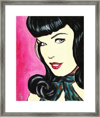 Bettie Page Pop Art Painting Framed Print by Bob Baker