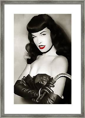 Bettie Page Red Lipstick Framed Print by Dan Sproul
