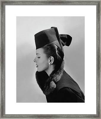 Bettina Bolegard Wearing A Chechia Hat Framed Print by Horst P. Horst
