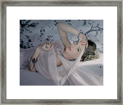 Bettina Bolegard Wearing Jewelry Framed Print by Horst P. Horst