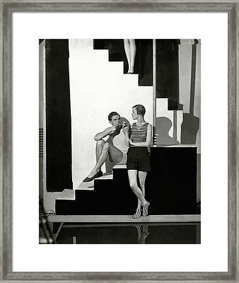 Bettina Jones Posing With A Male Model Framed Print by George Hoyningen-Huene