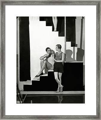 Bettina Jones Posing With A Male Model Framed Print by George Hoyningen-Huen?