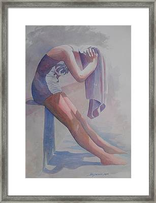 Betty Heim At Forest Pool  Framed Print