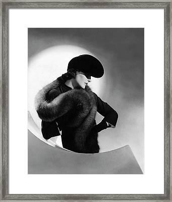 Betty Mclauchlen Wearing A Fox Stole Framed Print