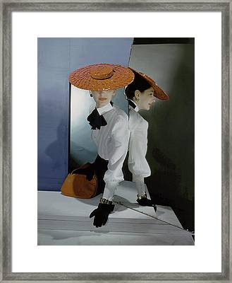 Betty Mclauchlen Wearing A Hat And Blouse Framed Print by Horst P. Horst