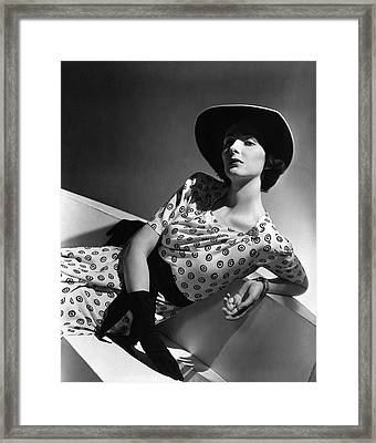 Betty Mclauchlen Wearing A Patterned Dress Framed Print by Horst P. Horst