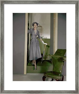 Betty Pulcer Threat Wearing A Grey Suit Framed Print