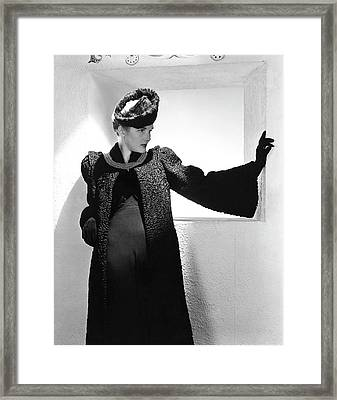 Betty Ribble Wearing A Ben W. Cohen Coat Framed Print