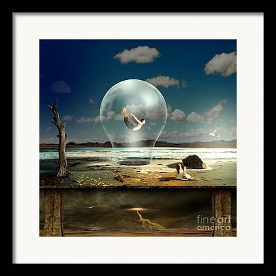Desert Lake Mixed Media Framed Prints