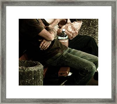 Between A Rock And A Hard Place Framed Print by Lin Haring