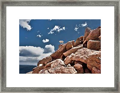 Between A Rock And A Hard Place Framed Print by Tejas Prints