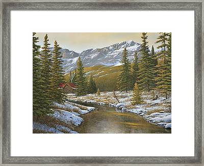 Between The Evergreens Framed Print
