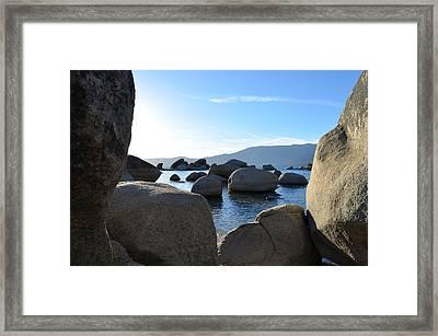 Between The Rocks At Lake Tahoe Framed Print by Alex King