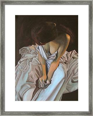 Between The Sheets Framed Print by Thu Nguyen