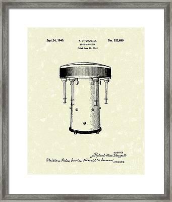 Beverage Mixer 1940 Patent Art Framed Print