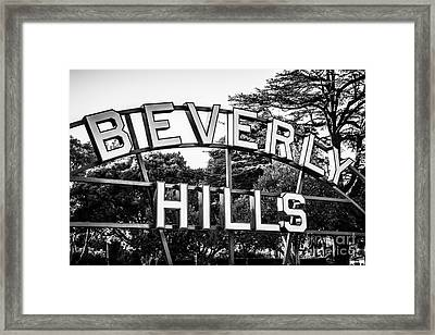 Beverly Hills Sign In Black And White Framed Print