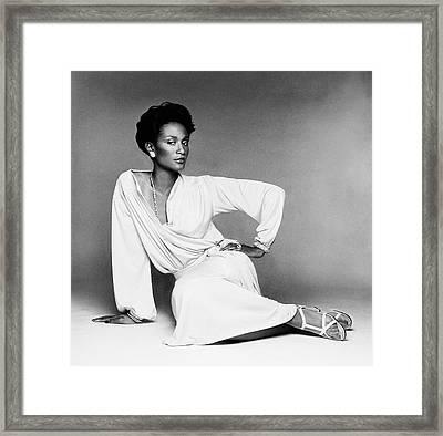 Beverly Johnson Wearing A Blouson Jersey Dress Framed Print