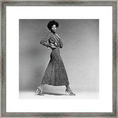 Beverly Johnson Wearing A Chevron Striped Dress Framed Print