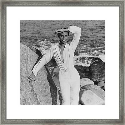 Beverly Johnson Wearing A Jumpsuit Framed Print