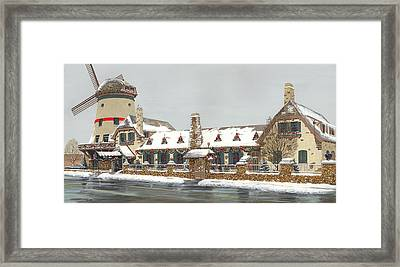Bevo Mill Side View Christmas  Framed Print by Don  Langeneckert