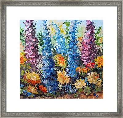 Framed Print featuring the painting Bev's Garden by Megan Walsh