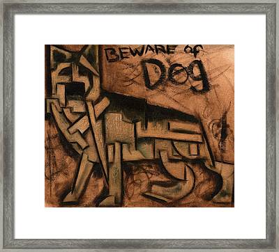 Tommervik Beware Of Dog Art Print Framed Print by Tommervik