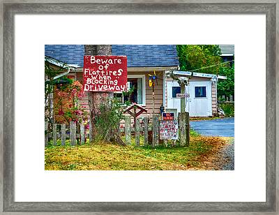 Beware Of Flat Tires Framed Print