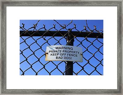 Beware Sign Framed Print by John Ricard jr