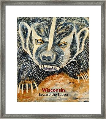 Beware The Badger Framed Print by Thomas Kuchenbecker