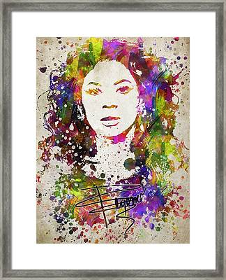Beyonce In Color Framed Print by Aged Pixel