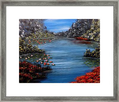 Beyond The Bridge At Lily Pond Framed Print by Darren Robinson