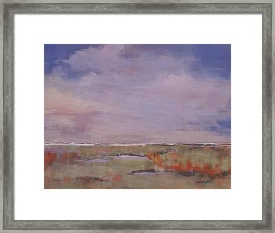 Beyond The Marsh Framed Print by Laura Lee Zanghetti