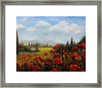 Beyond The Poppies Framed Print