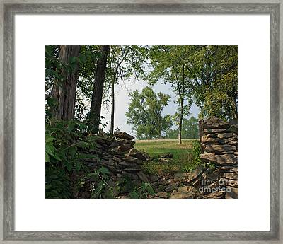 Beyond The Rock Fence Framed Print
