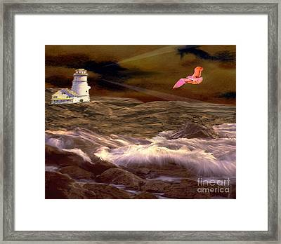 Beyond The Rocks Framed Print by Belinda Threeths