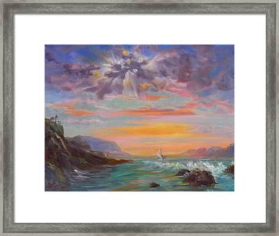 Beyond The Sunset Framed Print by Sharon Casavant