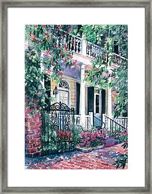 Beyond The Wrought Iron Framed Print by Alice Grimsley