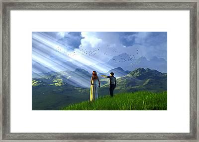 Beyond These Hills Framed Print by Dieter Carlton