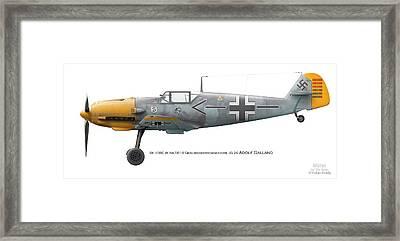 Bf 109e W.nr.5819 Geschwaderkommodore Jg 26 Adolf Galland Framed Print by Vladimir Kamsky
