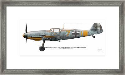 Bf 109f-4/r-1 W.nr.13325. Staffelkapitan 9./jg 3 Oblt. Viktor Bauer. July 1942. Nowy-cholan Framed Print by Vladimir Kamsky