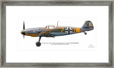 Bf 109f-4/r-1 W.nr.13325. Staffelkapitan 9./jg 3 Oblt. Viktor Bauer. June 1942. Shchigry Framed Print