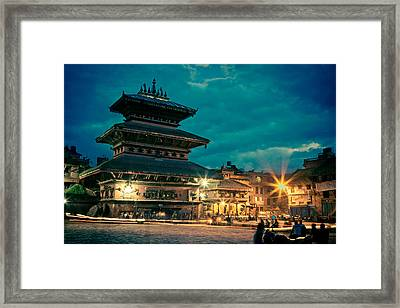 Bhaktapur At Night In Old Town Framed Print by Raimond Klavins
