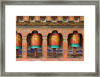 Bhutan, Paro Spinning Prayer Wheel Framed Print by Brenda Tharp