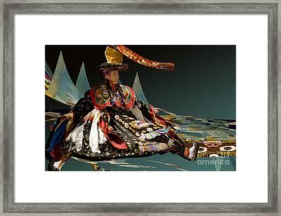 Framed Print featuring the digital art Bhutanese Dancer by Angelika Drake