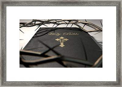 Bible And Crown Of Thorns Framed Print by Allan Swart