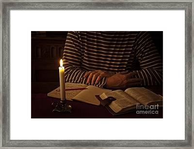 Bible Devotion Framed Print by Donald Davis