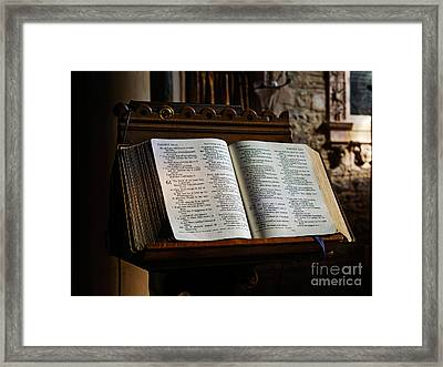 Bible Open On A Lectern Framed Print by Louise Heusinkveld