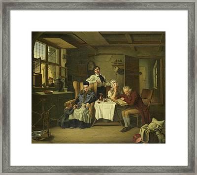 Bible Reading, Eduard Karl Gustav Lebrecht Pistorius Framed Print by Litz Collection