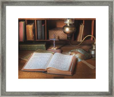 Bible Study By Oil Lamp Framed Print