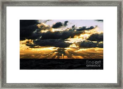 Crepuscular Biblical Rays At Dusk In The Gulf Of Mexico Framed Print